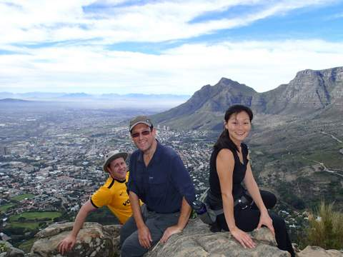 Andrew and Jenna-Sue Fulton with Brian Berkman (centre)on top of Lion's Head.