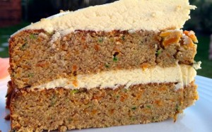 Carrot cake without grain flour or sugar.