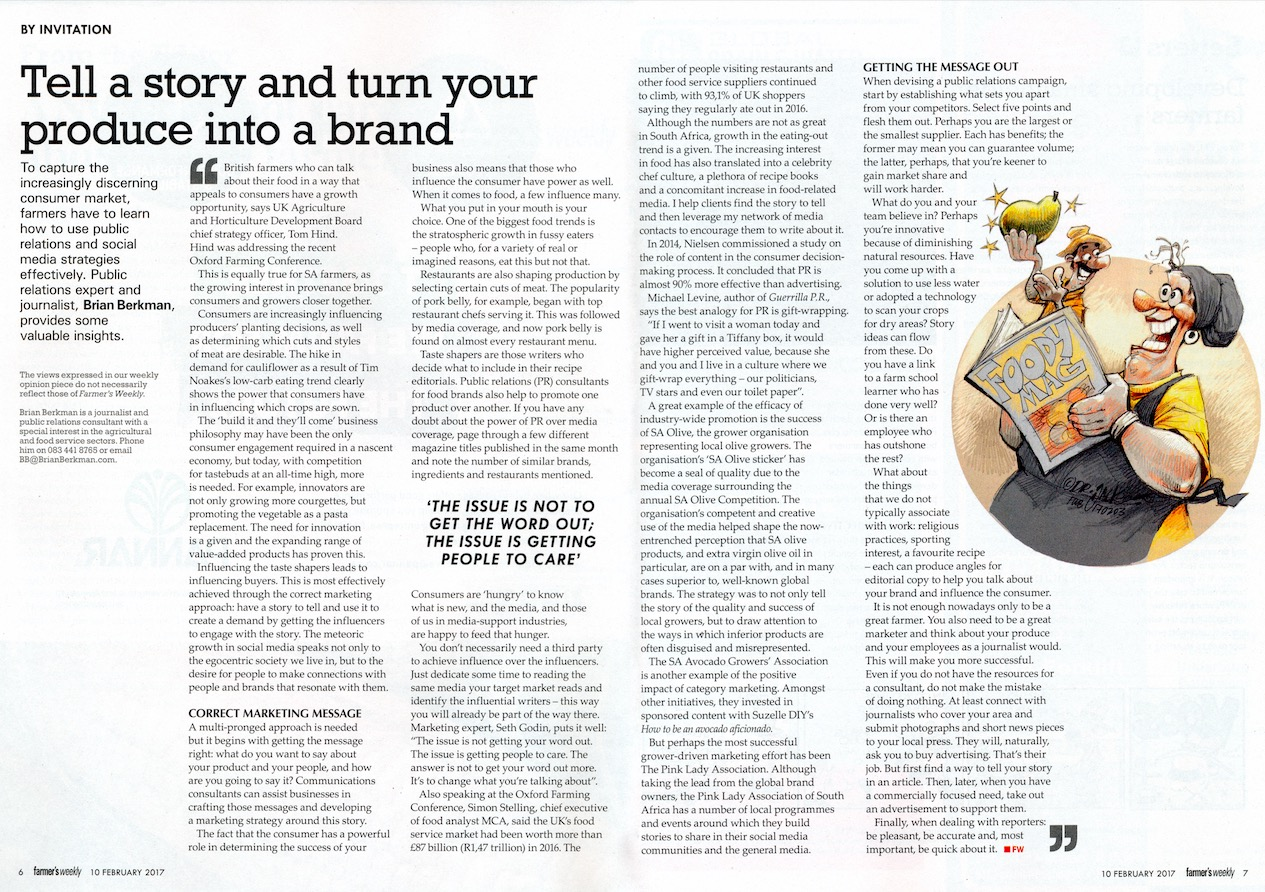 Having a story to tell helps your commodity become a brand