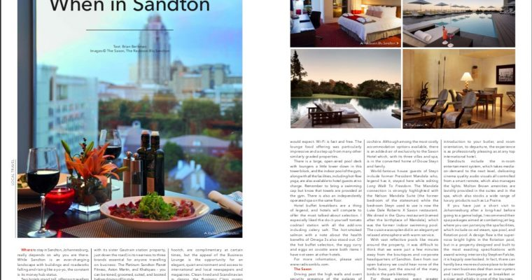 Where to stay in Sandton while on business.