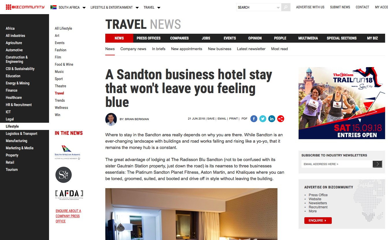 A Sandton business hotel stay that won't leave you feeling blue.
