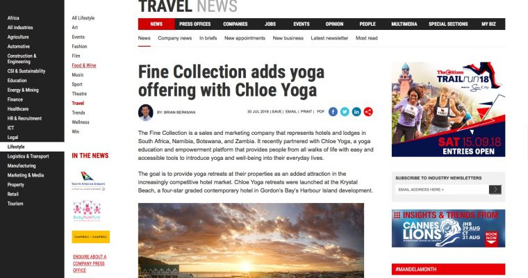 Yoga retreats part of the marketing offering for The Fine Collection.