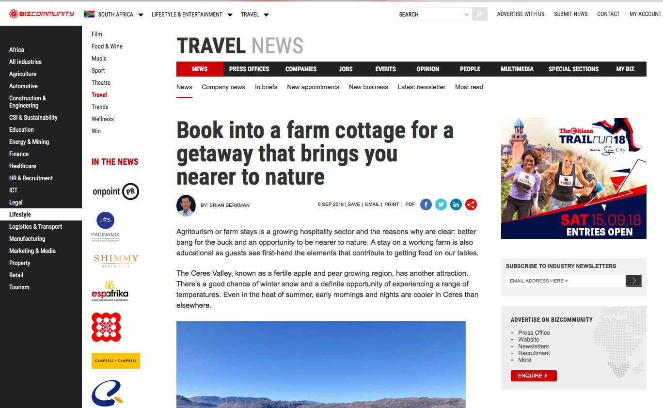 Book into a farm cottage for a getaway that brings you nearer to nature.