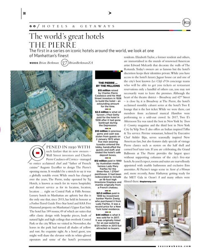 The Pierre, New York featured in Sawubona Magazine, March 2019
