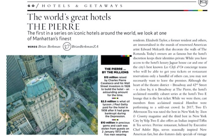 The Pierre, New York, featured in Sawubona Magazine, March 2019