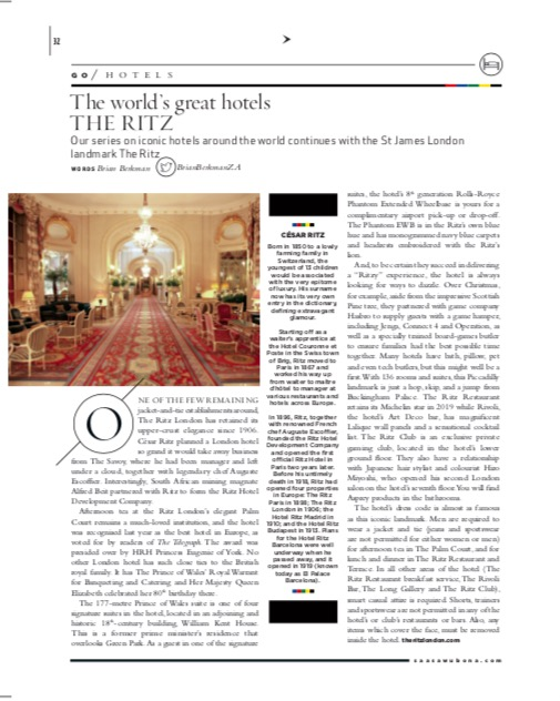 The Ritz London as featured in Sawubona Magazine, May 2019.