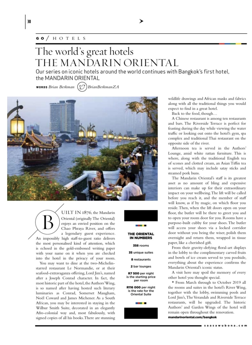 The Mandarin Oriental Hotel, Bangkok featured in Sawubona Magazine