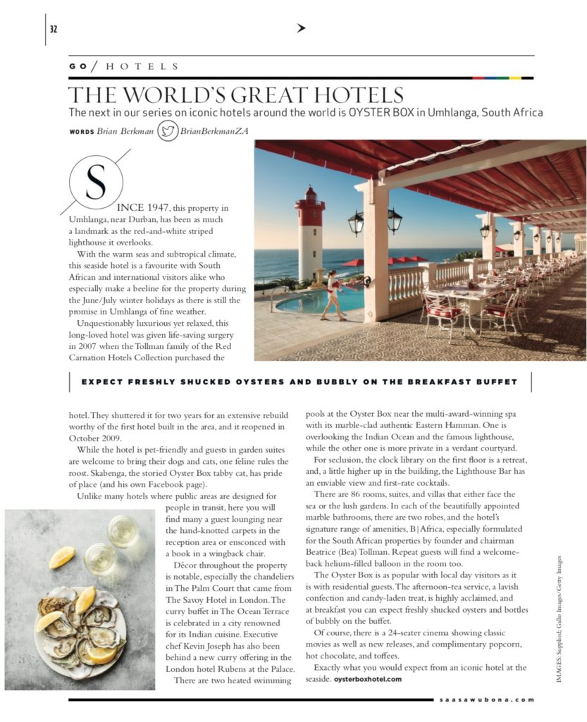 The Oyster Box Hotel as featured in Sawubona Magazine, September 2019 issue.