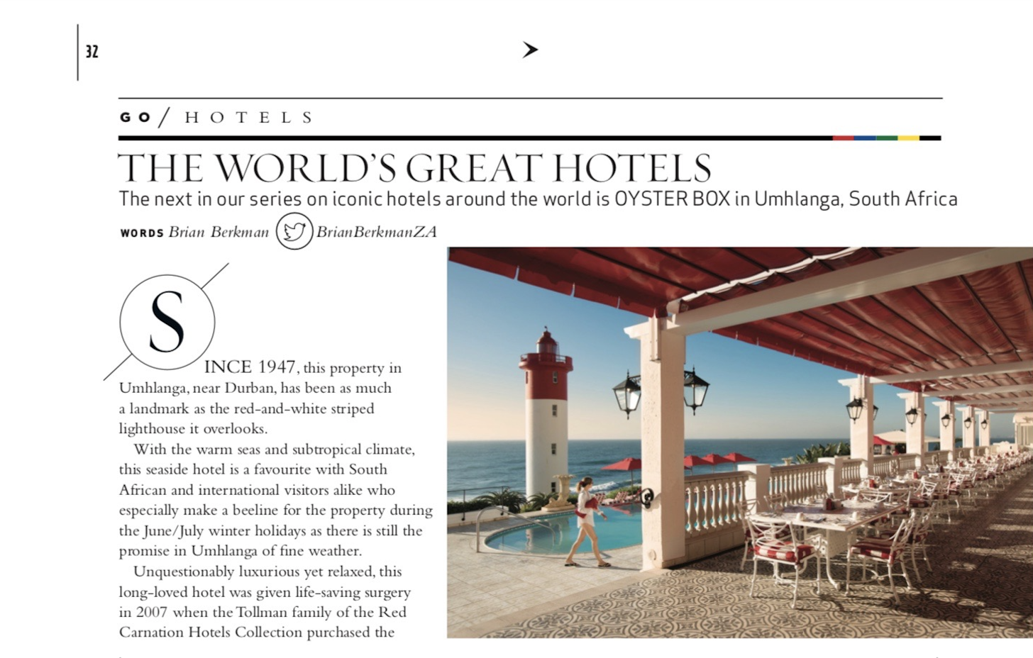 The Oyster Box Hotel, an iconic property featured in Sawubona Magazine September 2019.