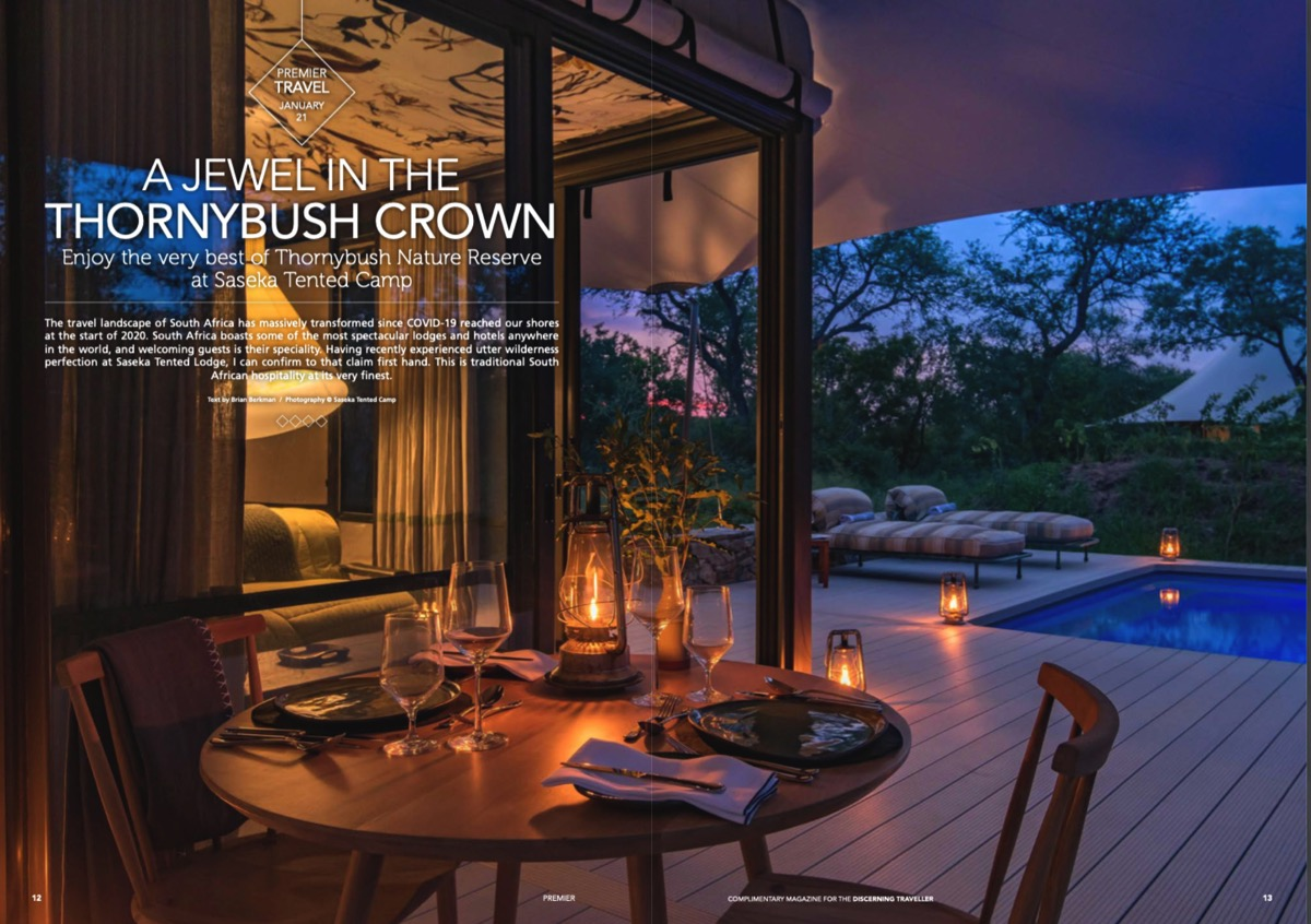 Saseka Tented Camp in Premier Magazine