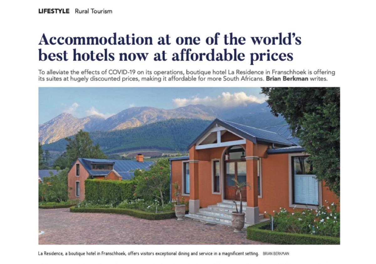 La Residence in Franschhoek as published in Farmer's Weekly.