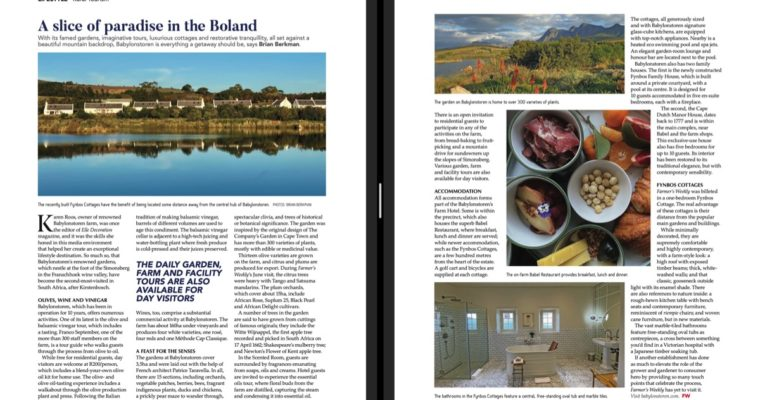 Babylonstoren stay as featured in Farmer's Weekly Magazine.