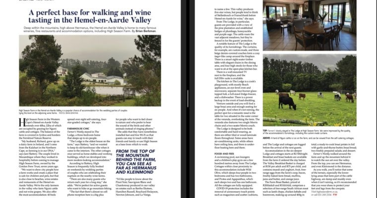High Season Farm stay near Hermanus as featured in July 2, 2021 issue of Farmer's Weekly Magazine.